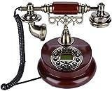 Teléfono Inicio Teléfono Retro Teléfono Teléfono Vintage Teléfono Retro con madera y metal Pedestal a prueba de patines, Dial Rotary Funcional y teléfono Classic Metal Bell Teléfono para Home Kitchen