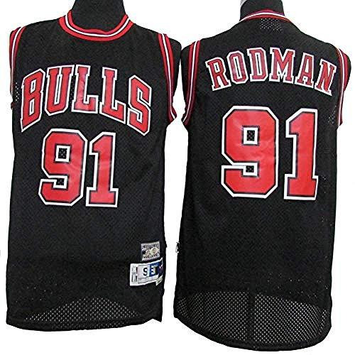 MINTUAN Herren- und Damen-Trikots - Chicago Bulls # 91 Dennis Rodman Vintage-Trikots, Coole atmungsaktive Swingman-Basketballtrikots aus Stoff L:180cm/75~85kg Black1