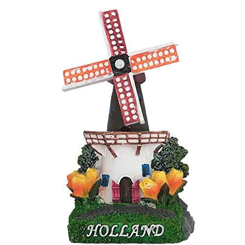 3D Exquisite windmolen van Nederland Koelkast Magneet (Windmolen bladeren kunnen worden gedraaid) Toeristische Souvenir Gift Home & Keuken Decor Magnetische sticker, Nederland Koelkast Magneet