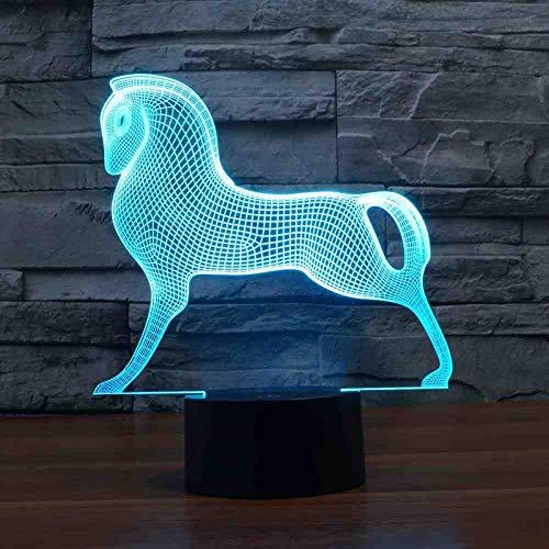 RJGOPL Trojan Afstandsbediening met paarden, 7 controles, 3D-lamp, kleurrijk, touch-gezicht, licht, cadeau, decoratie, lamp, 3D-verlichting