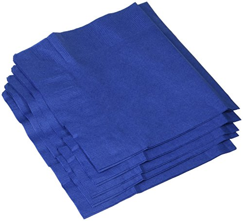 """Amscan Big Party Pack Luncheon Napkins 6.5"""" x 6.5"""", 125/pkg, Bright Royal Blue"""
