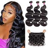 TodayOnly 10A Grade Peruvian Hair Body Wave 3 Bundles (16/18/18 inch) 100% Unprocessed Virgin Human Hair Peruvian Bundles Remy Weave Hair Bundles, Natural Black Color