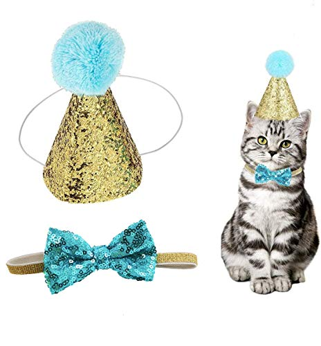 Beegame Novelty Pet Birthday Party Cone Hat and Bow Tie Collar Set, Adjustable and Pom-poms Topper for Small Dogs Cats (Light Blue)