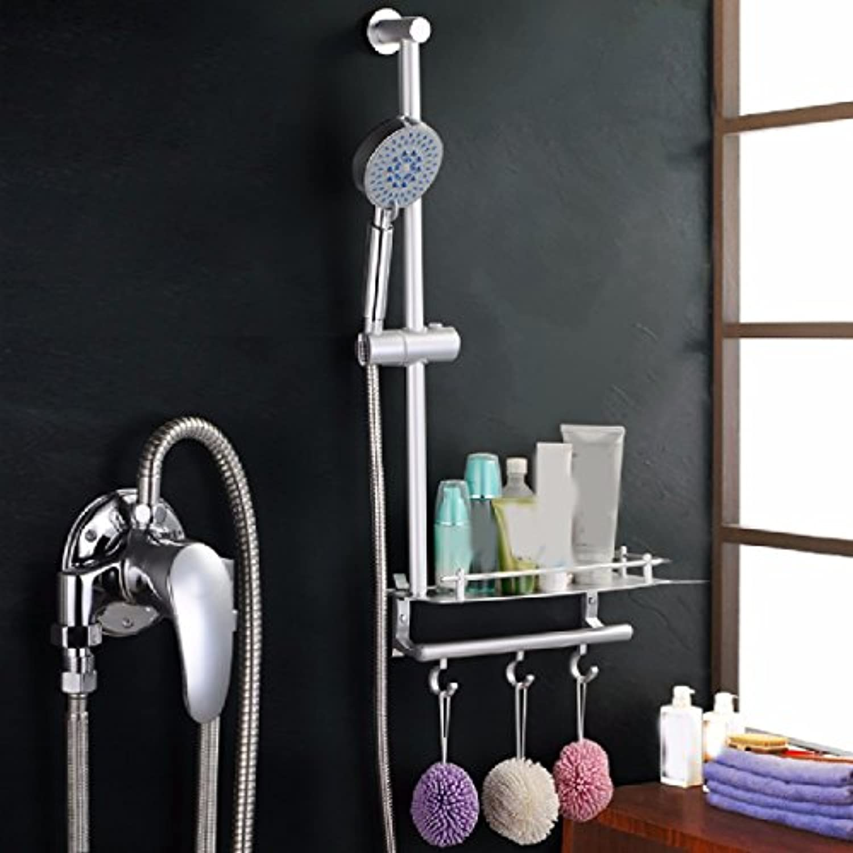 Bijjaladeva Wasserhahn Bad Wasserfall Mischbatterie Waschbecken Waschtisch Armatur für BadezimmerDas Kupfer in die Duschen integrierten Regal Kit Easy Dusche Dusche Wasserhahn