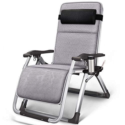 DX Silla reclinable de jardín, diseño de Cerradura integrada de aleación de Aluminio, reposacabezas con cojín Ajustable, para Turismo de Playa al Aire Libre, Gris 2