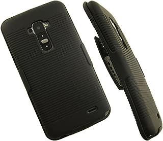 NAKEDCELLPHONE'S Black Rubberized Hard CASE + Belt Clip Holster Stand for LG G Flex GFLEX Phone (Sprint, AT&T, Sprint, T-Mobile, Unlocked, F340, D955, D958, D959, F340s, D950, LS995, D959n)