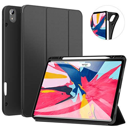 ZtotopHülle Hülle für iPad Pro 12.9 Zoll 2018(Nicht für Modell 2020), Smart Cover Schutzhülle mit Stifthalter, Automatischem Schlaf/Aufwach,Kompatibel mit Pencil, für iPad Pro 12.9 2018 - Schwarz