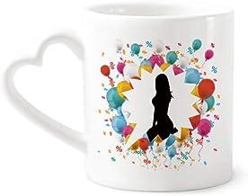 cold master DIY lab Kneeling Position Hot Beautiful Woman Festival Balloon Mug Coffee Cup Pottery Ceramic Heart Handle