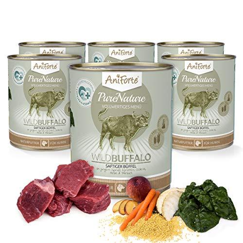 AniForte Hundefutter Nass WildBuffalo 6 x 800g – Nassfutter für Hunde, Frisch vom Büffel, hoher Fleischanteil, Gemüse & Früchte, Natürliches Hundenassfutter mit Extra viel Fleisch, glutenfrei