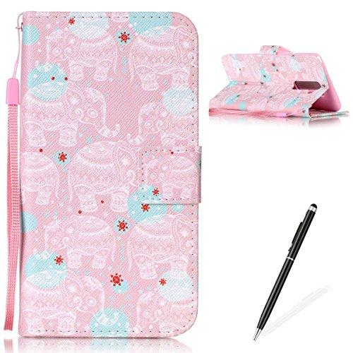 Feeltech Hülle für LG LS775/LG G2 Stylus Weich Magnet PU Brieftasche Elegant Kartenfach Extra Dünn Schutzhülle Bunte ReLife MusterKarte Halterung Klapp Ledertasche - Weißer Totem Elefant