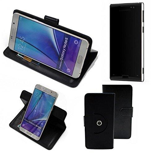 K-S-Trade 360° Funda Smartphone para Lumigon T3, Negro | Función De Stand Caso Monedero BookStyle Mejor Precio, Mejor Funcionamiento