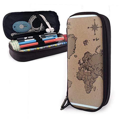 Bleistiftbeutel,Wor-D M-Ap Postkarte Leder Federmäppchen, Hochwertige Bleistifttasche, Schreibwaren Taschen Für Bürobedarf Kinder 20X9X4Cm
