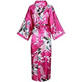 Satin Lady Long Robe Kimono Bademantel Lässige Nachtwäsche Home Kleidung Plus Size Braut Brautjungfer Bademantel -a112-L