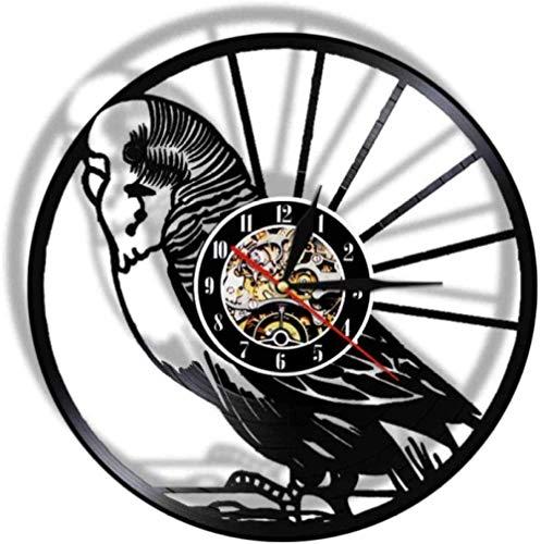Regalo Reloj de pared de vinilo Reloj de registro Reloj vintage de loro Reloj de cuarzo silencioso Reloj de pared Regalos personalizados hechos a mano para niños y adultos 12 pulgadas con LED-12 pulga