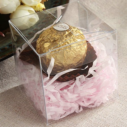 "Lot of 50pcs 2""x2""x2"" inches ( 5x5x5cm ) Clear Plastic Candy Gift Boxes Thick PVC Anti Scratch Holiday Wedding Party Favor ~ (2x2x2 inch clear 50boxes)"