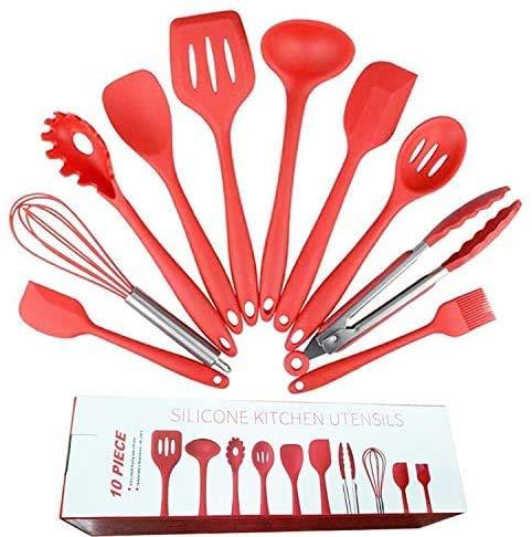 ZXDFG Kitchen Tools 10 Pcs Silica Gel Kitchenware Non Stick Pot Silica Gel Kitchenware Set of Environmental Cooking Gadgets