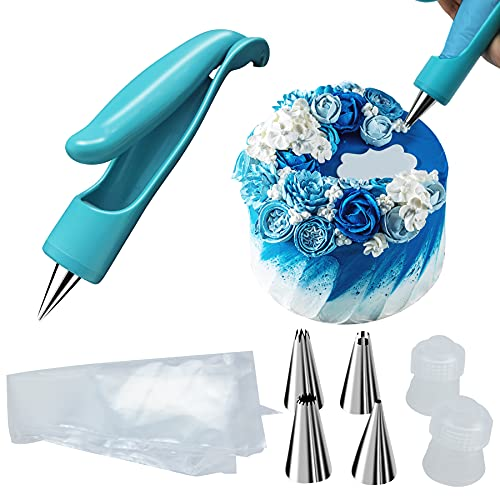 Lesirit Kitchen Pastry DIY Cake Decorating Tools,Interchangeable Icing Pen Heads Fondant tools,Reusable Piping Bag(Blue)