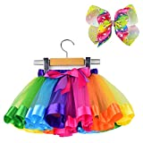 BGFKS Layered Ballet Tulle Rainbow Tutu Skirt for Little Girls Dress Up with Colorful Hair Bows(Unicorn,2-4T)