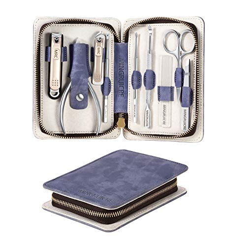 Manicure Set, 9 in 1 Stainless Steel Pedicure Kit, Nail Clippers Set, Professional Nail Scissors Grooming Kit, Portable Nail Care kit with Luxury Travel Bag