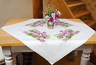 Kamaca Stickpackung Flamingos Kreuzstich vorgezeichnet aus 100% Baumwolle Stickset mit Stickvorlage Mitteldecke 80x80 cm