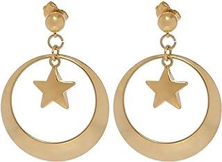GrandUAE Women's Alloy Earring - Star in Circle, Gold