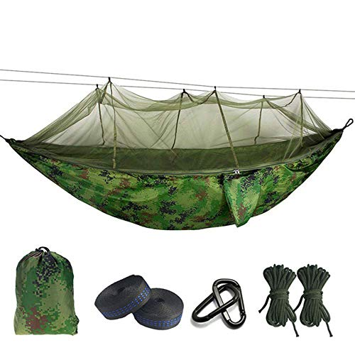 Camping Hammock with Mosquito/Bug Net, Hammock Tree Straps And Carabiners, Easy Assembly, Single Double Portable Parachute Hammock for Indoor, Outdoor, Hiking, Camping, Travel, Backyard, Beach,14