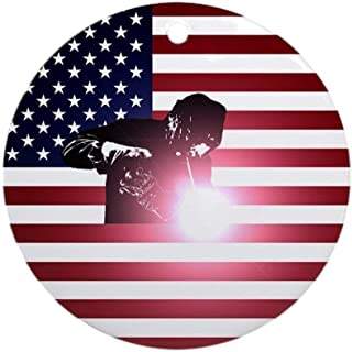 i-zehibho-i Ceramic Round Ornaments - Welding Welder & American Flag Personalized Custom Handmade Holiday Christmas Ornament Ideas 2019, 2.87