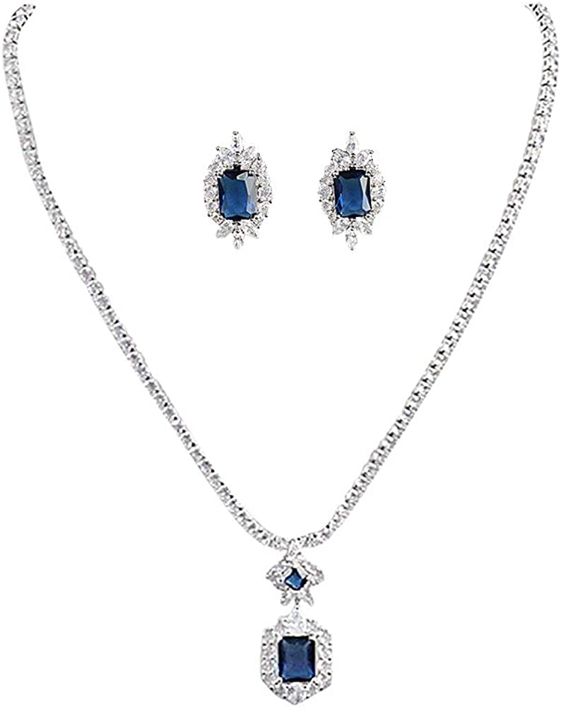 Jorsnovs 3A Cubic Zirconia Necklace and Earrings Wedding Bridal Jewelry Sets Zircon Dubai Party Jewelry Sets Gift for Women Girls