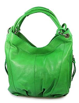 Italiana. Bolso XL Shopper Bolsa de hombro de piel auténtica piel de napa Varios Colores a Elegir Negro Marrón coñac verde, 42x 30x 30cm (B X H X T)
