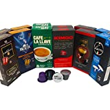 Nespresso Compatible Capsule Multi-Brand Variety Pack - Best Bundle Collection of Dark Espresso Pods from Around the World - 120 Pack