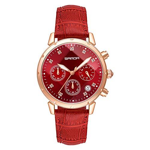 SANDA Relojes Mujer,Bola de Tendencia con Reloj de cinturón Casual de Diamante de Aguja.-Rojo