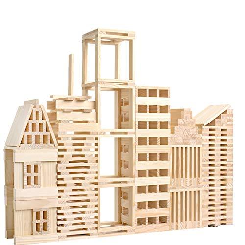 Bascar Juego de bloques de madera de 100 piezas, juego de bloques de madera maciza, juego de castillo de Swan para niños pequeños