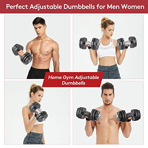 Product Image 5: RUNWE Adjustable Dumbbells Barbell Set of 2, 33 lbs Free Weight Set with Steel Connector Home Office Gym Fitness Workout Exercises for Men/Women/Beginner/Pro