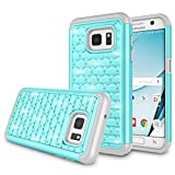 Galaxy S7 Case, Samsung S7 Cute Case, Zectoo Dual Layer Heavy Duty Hybrid Rubber Silicone Crystal with Diamond Studded Bling Hard Shell Case Cover for Samsung Galaxy S7 S VII G930 GS7 - Turquoise