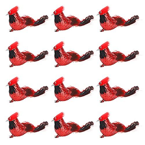 YQYAZL 12 pájaros cardenales artificiales de Navidad, plumas de simulación de pájaros, pájaros rojos falsos con clip para árbol de Navidad, pájaros rojos pequeños para decoración de árbol de Navidad