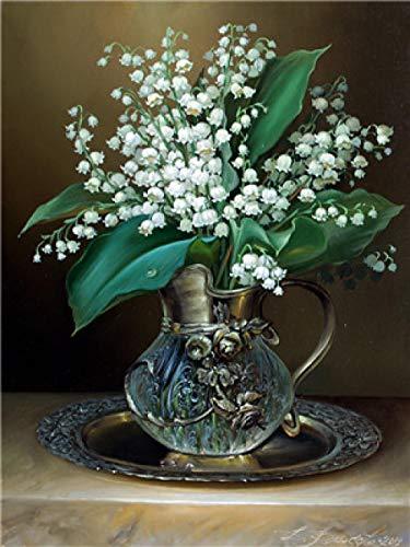 N/O Verf Door Getallen Kleine bloemen in glazen vaas Voor volwassenen en kinderen DIY Olieverfgeschenken Kits Pre-Printed Canvas Art Home Decoratie 16x20 inch Frameless