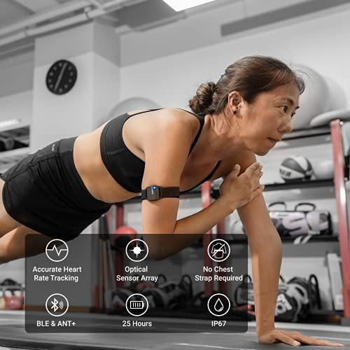 CooSpo Bluetooth & ANT+ Heart Rate Monitor Armband Optical HRM Sensor Waterproof IP67 Fitness Tracker Armband Compatible with Zwift, Wahoo Fitness, Endomondo, Peloton(One More Free Armband)