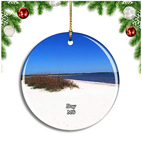 Weekino Bay Saint Louis Beach Mississippi USA Christmas Ornament Xmas Tree Decoration Hanging Pendant Travel Souvenir Collection Double Sided Porcelain 2.85 Inch