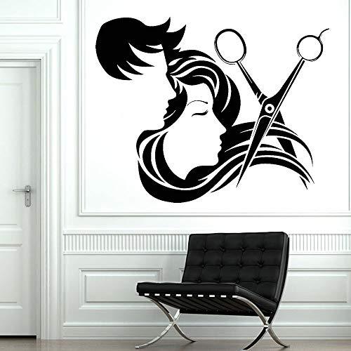 JXFM Barbershop wandlamp vinyl kapsalon kapsalon schaar vinyl waterdicht wanddecoratie Z396 in de familie 42 x 34 cm