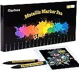 Morfone Juego de 20 rotuladores metálicos de colores rotuladores permanentes marcadores de arte para pintura, hacer tarjetas, foto de bricolaje