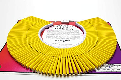 Doppellose am Ring, Farbe gelb, 100 Tombola Lose mit Doppelnummern 1-100