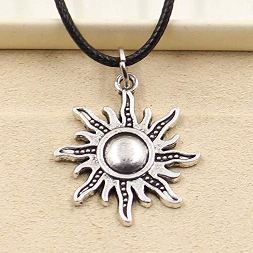 N/X Collar tibetana Plata Colgante Sol Collar Collar