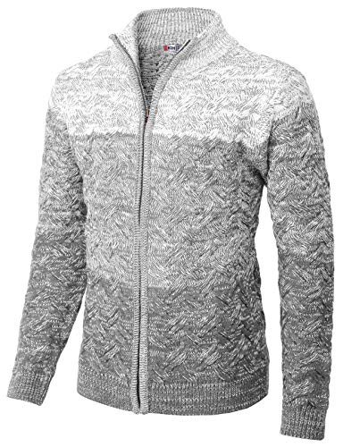 H2H Mens Casual Slim Fit Twisted Knit Zip up Cardigan with Gradation Color GRAYWHITE US XL/Asia 2XL (KMOCAL0133)