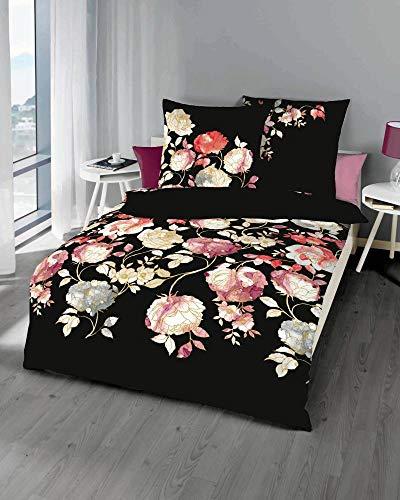 Kaeppel Biber Bettwäsche Elysian schwarz 1 Bettbezug 135x200 cm + 1 Kissenbezug 80x80 cm