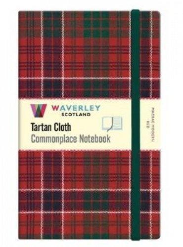 MacRae Modern Red: Large: Waverley Genuine Tartan Cloth Commonplace Notebook (21cm x 13cm)
