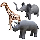 Jet Creations Safari 3 Pack Elephant Giraffe Rhino Great for Pool, Party Decoration, an-EGR
