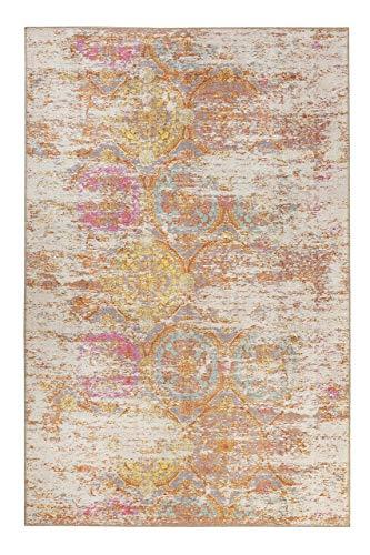 Homie Living I Kurzflor Design Vintage Teppich I Como I (120 x 170 cm, Orange Pink Blau Gelb Grau Beige)