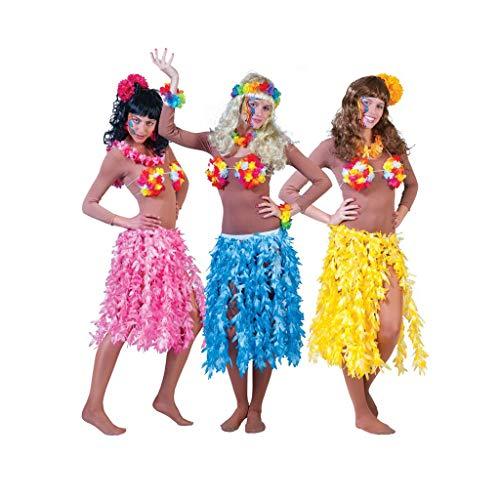 TrendClub100® 3er Set - Damen Hawaii Beach Party Strand Röcke - Blau, Pink, Gelb