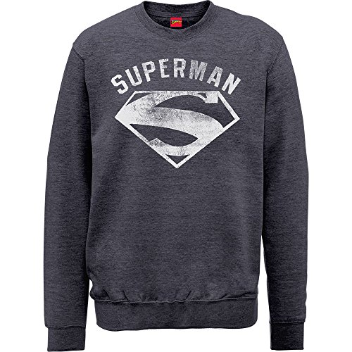 DC Comics Herren Superman Logo Spray Sweatshirt, grau, XX-Large