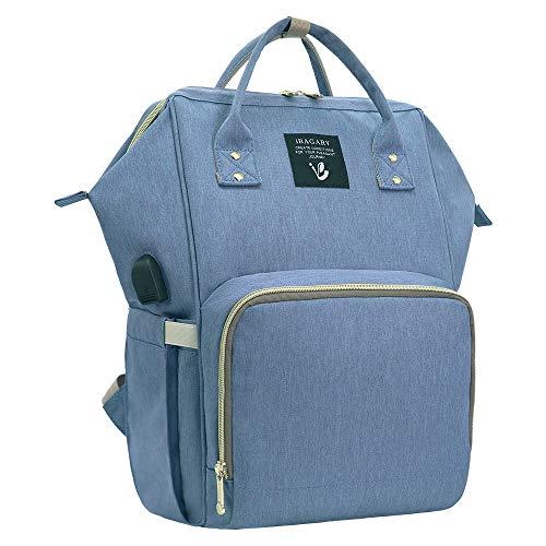 Wikkeltas rugzak blauw, grote luiertassen waterdichte multifunctionele wikkeltas rugzak voor mama/papa babyponderhoud met kinderwagenriemen en geïsoleerde zakken